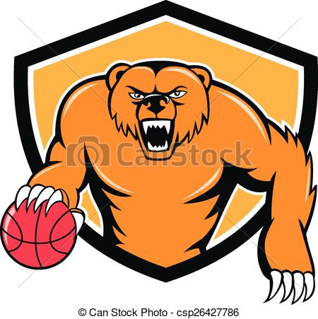 450x451 Grizzly Bear Angry Dribbling Basketball Shield Cartoon . Vector