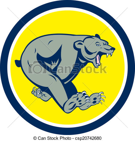 450x470 Grizzly Bear Running Circle Cartoon. Illustration Of A Vector