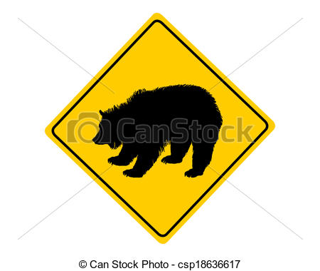 450x380 Grizzly Warning Sign Vector Clip Art