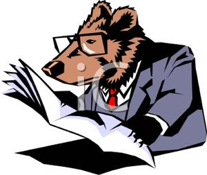 300x255 Royalty Free Clipart Image A Grizzly Bear Reading A Newspaper