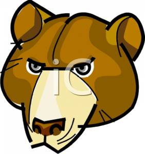 282x300 The Face Of A Grizzly Bear Clipart Picture