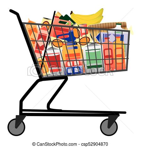 450x470 Shopping Cart With Groceries. Grocery Store Shopping Cart Is