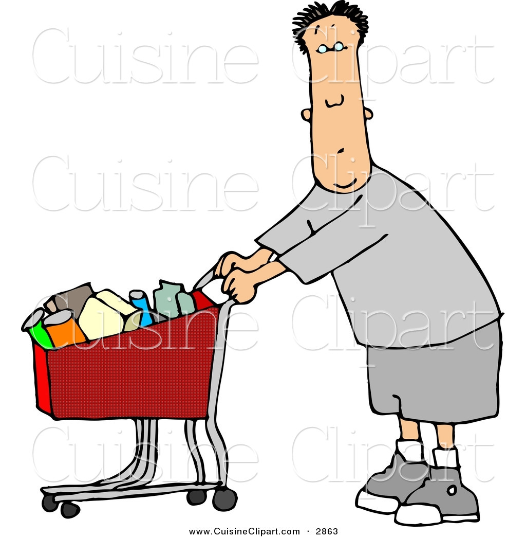 1024x1044 Cuisine Clipart Of A Confused Man Pushing A Shopping Cart Filled