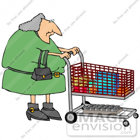 450x450 Gray Haired Woman Pushing A Shopping Cart In A Grocery Store