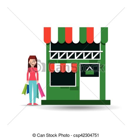 450x470 Lady Shopping Bags Gift Grocery Store Vector Illustration