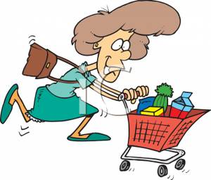 300x255 A Woman Rushing Through The Grocery Store Gathering Groceries