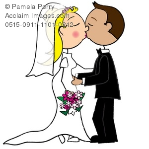 300x300 Clip Art Illustration Of A Stick Figure Bride And Groom
