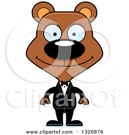 450x470 Clipart Of A Cartoon Happy Brown Bear Wedding Groom