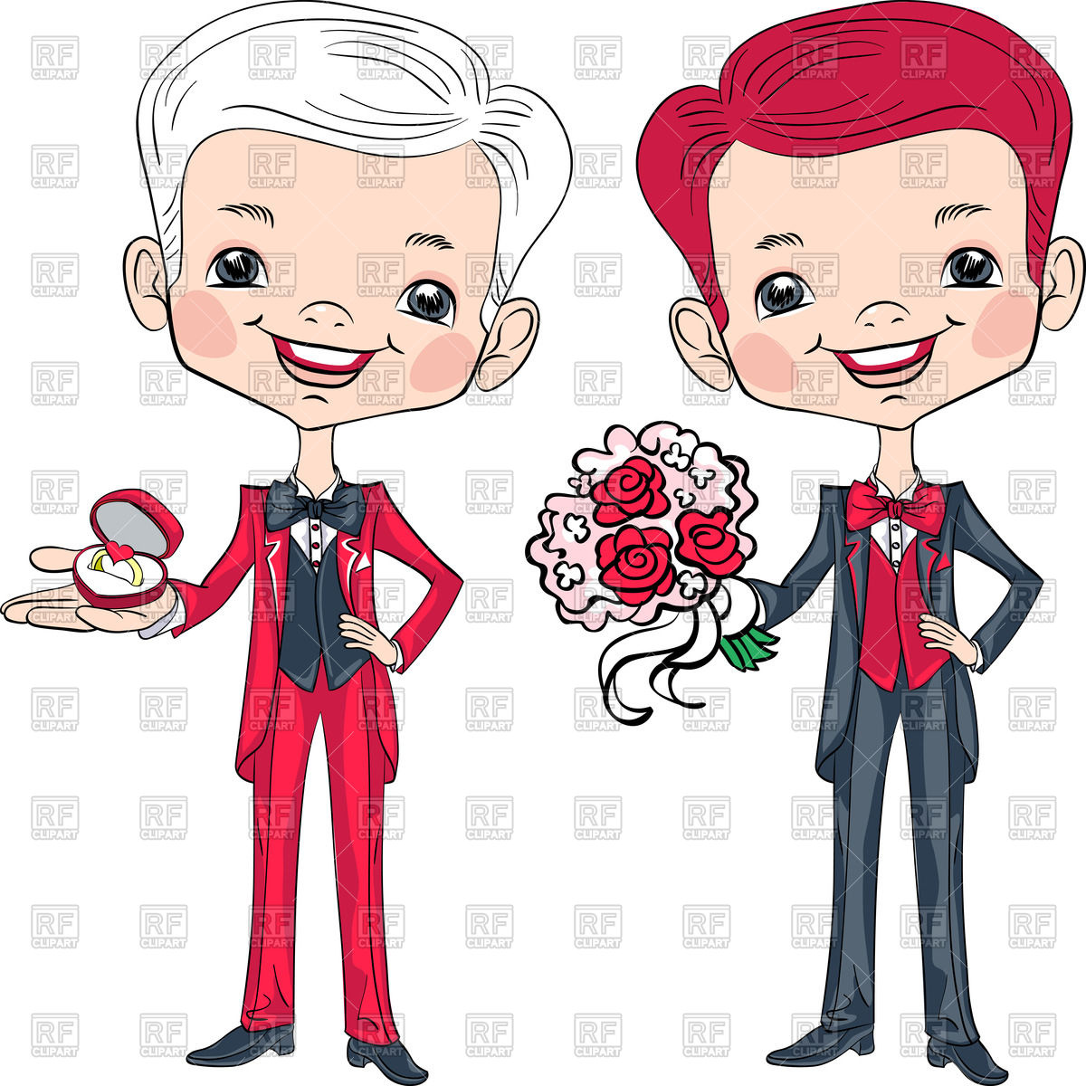 1200x1200 Two Cartoon Bridegrooms In Tuxedos With Engagement Ring And Bridal