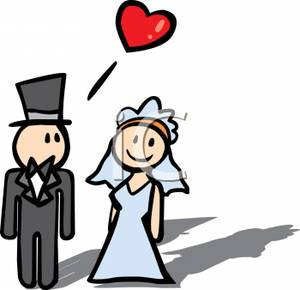 300x290 A Groom Smitten With His Bride Clip Art Image