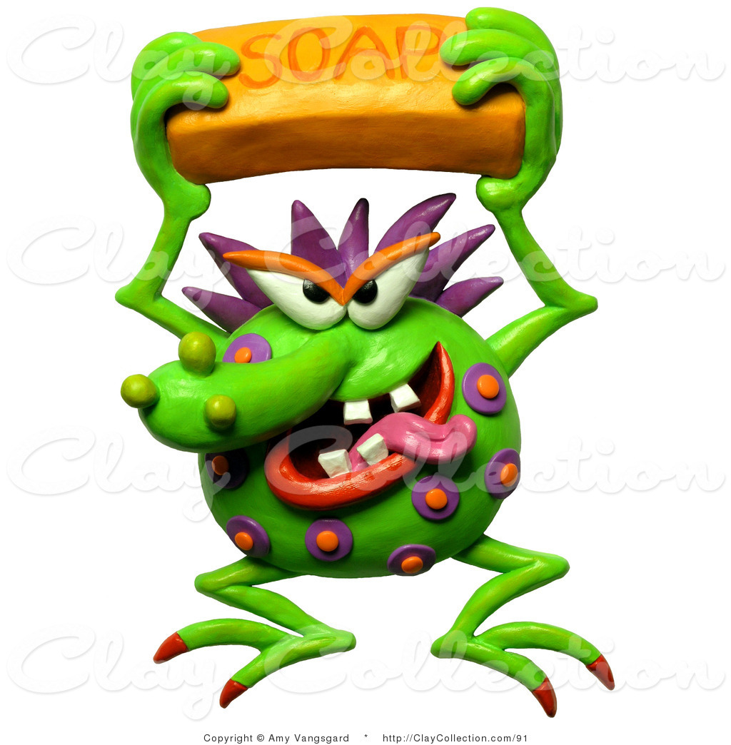 1024x1044 Clay Illustration Of A 3d Gross Germ Holding A Bar Of Soap By Amy