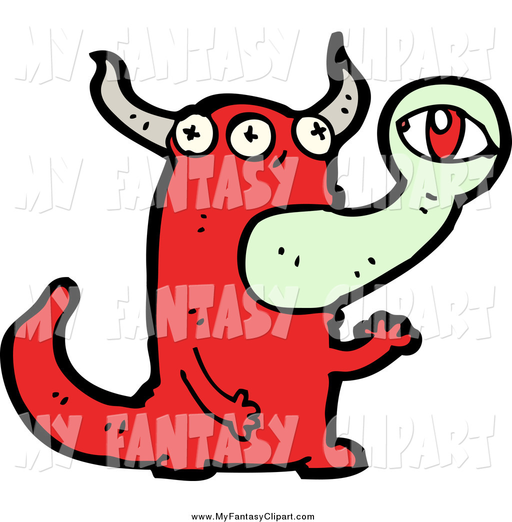 1024x1044 Clip Art Of A Red Monster Or Alien With An Eye Emerging From His