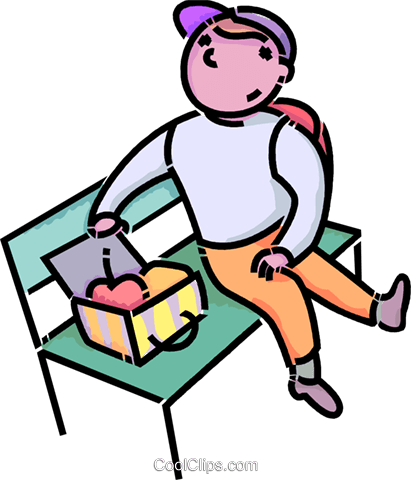 411x480 Boy Eating His Lunch On A Bench Royalty Free Vector Clip Art