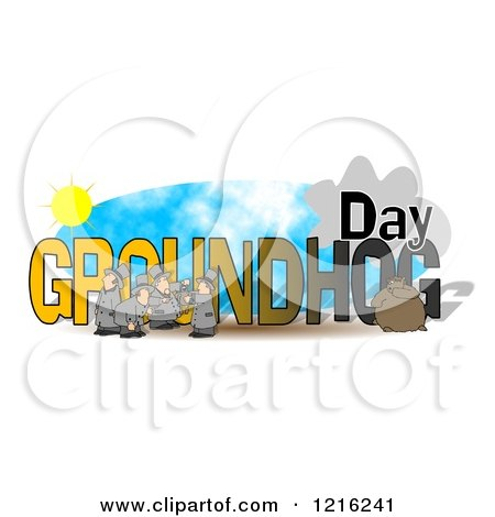 450x470 Clipart Of Groundhog Day Text With Men And Punxsutawney Phil