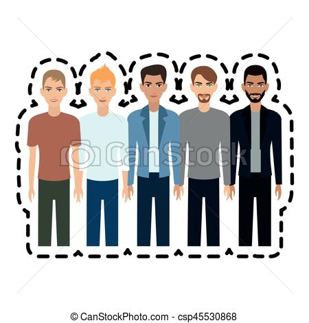 450x470 Group Of Young Handsome Men Icon Image Vector Illustration Clip