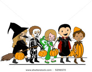 300x235 Clip Art Image A Group Of Kids Out For Trick Or Treating