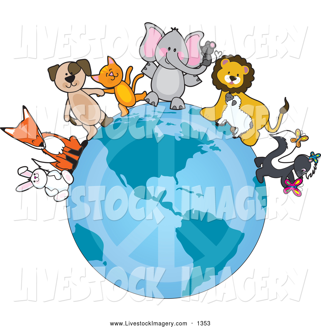 1024x1044 Clip Art Of A Group Of Animals Standing On The Earth With A Faded