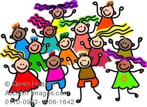 300x219 Clipart Illustration Of A Group Of Happy And Diverse Children