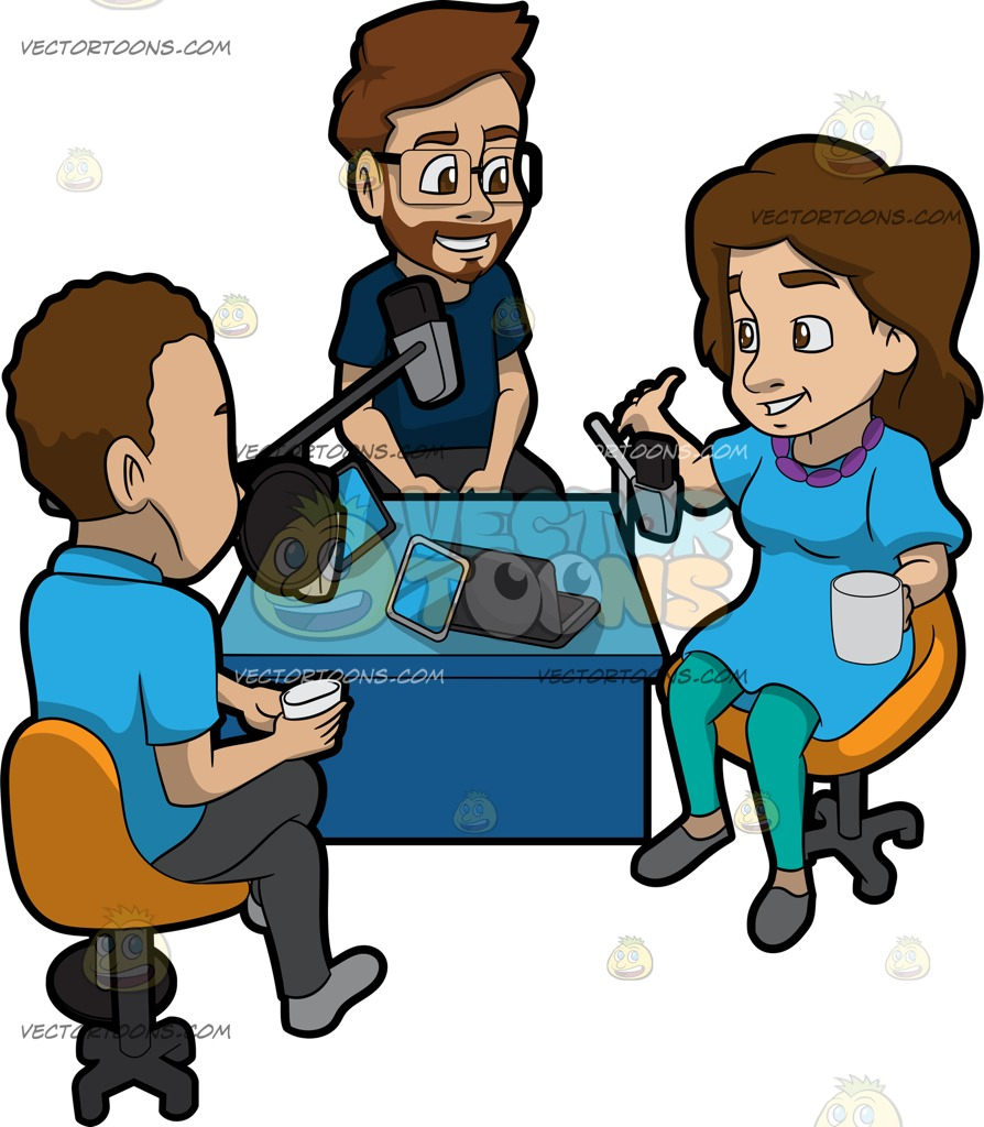894x1024 A Group Of People Discussing A Topic For A Podcast Cartoon Clipart