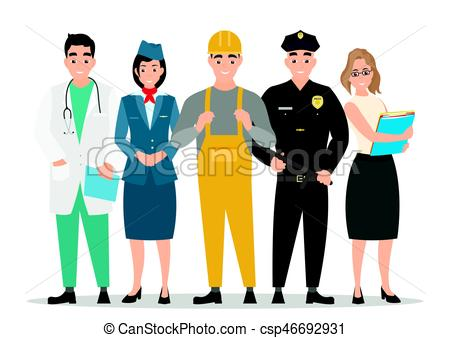 450x338 Labor Day. Group Of People Of Different Professions On