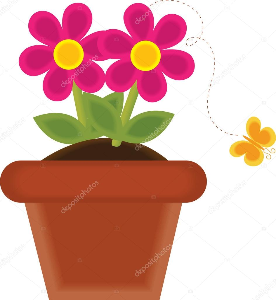 945x1024 Clip Art Illustration Of A Spring Flower Growing In Pot Stock
