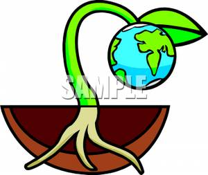 300x253 Clip Art Image A Seedling Growing Planet Earth