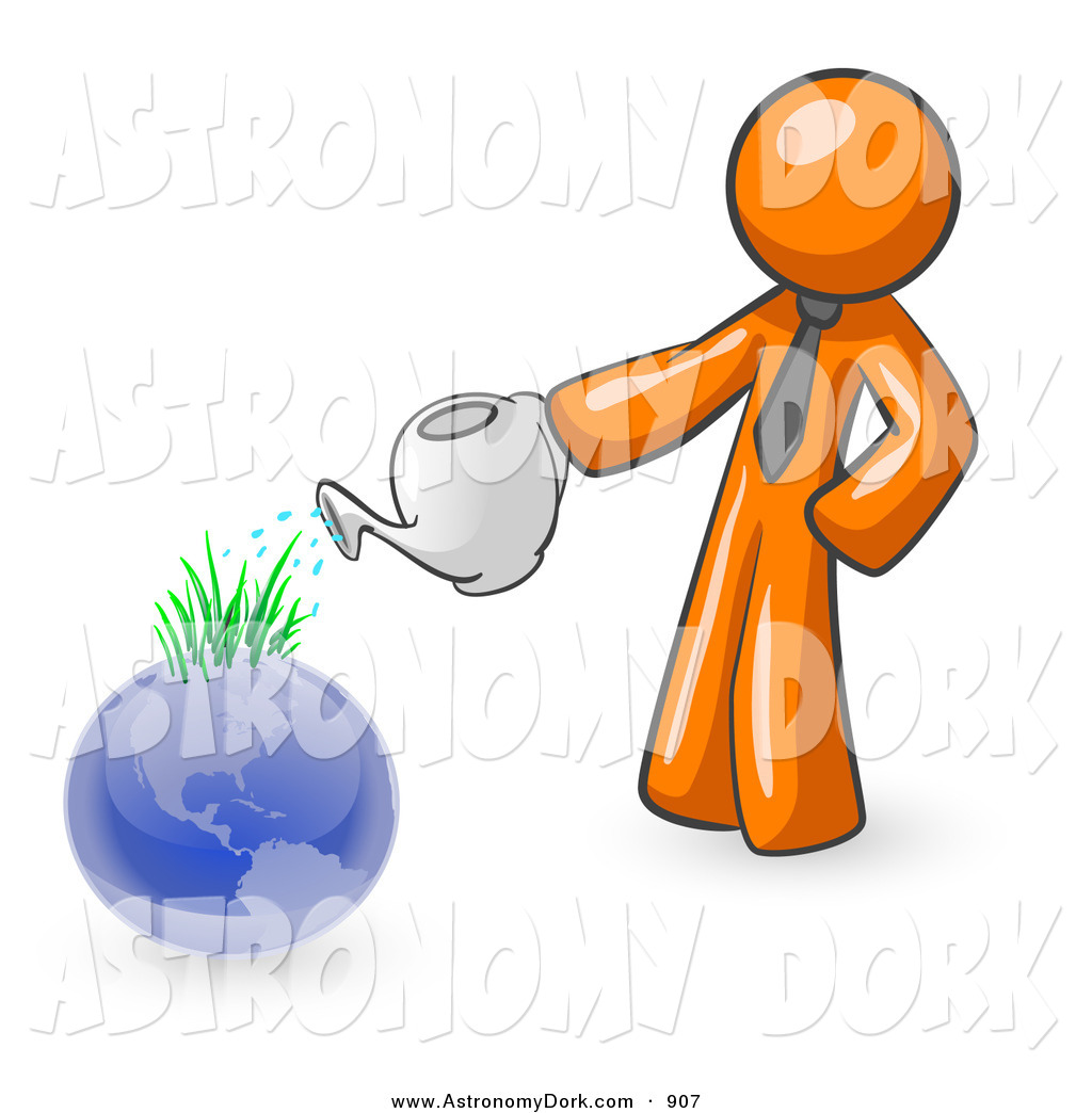 1024x1044 Clip Art Of A Shiny Orange Man Using A Watering Can To Water New