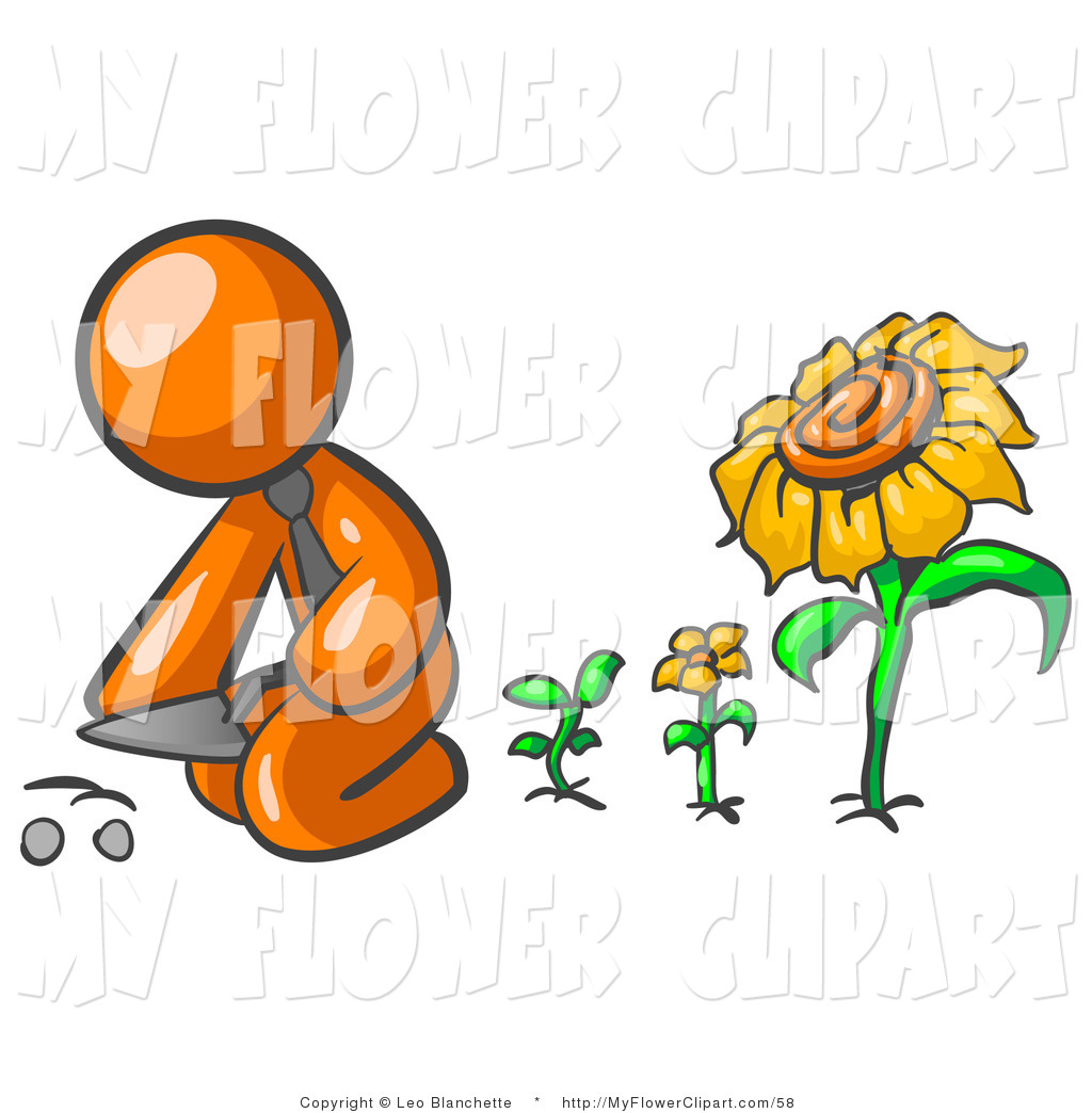 1024x1044 Clip Art Of An Orange Businessman Kneeling By Growing Sunflowers
