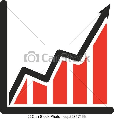 450x470 The Growing Graph Icon. Growth And Up Symbol. Flat Vector Clipart
