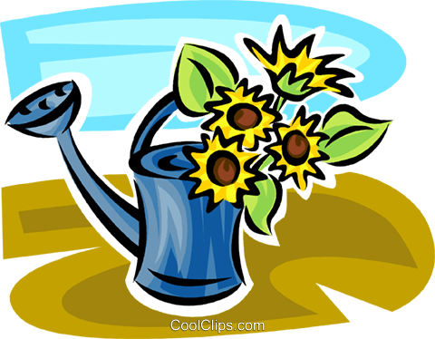 480x374 Flowers Growing Out Of A Watering Can Royalty Free Vector Clip Art