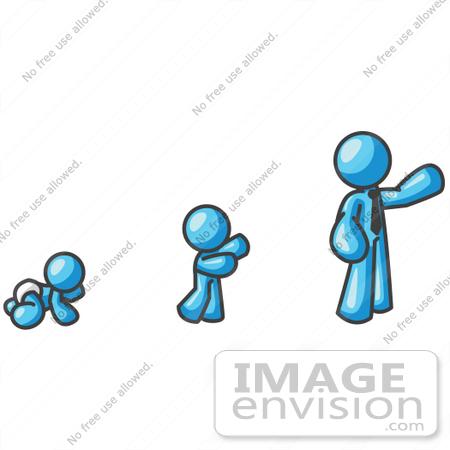450x450 Clip Art Graphic Of A Sky Blue Guy Character Growing From A Baby