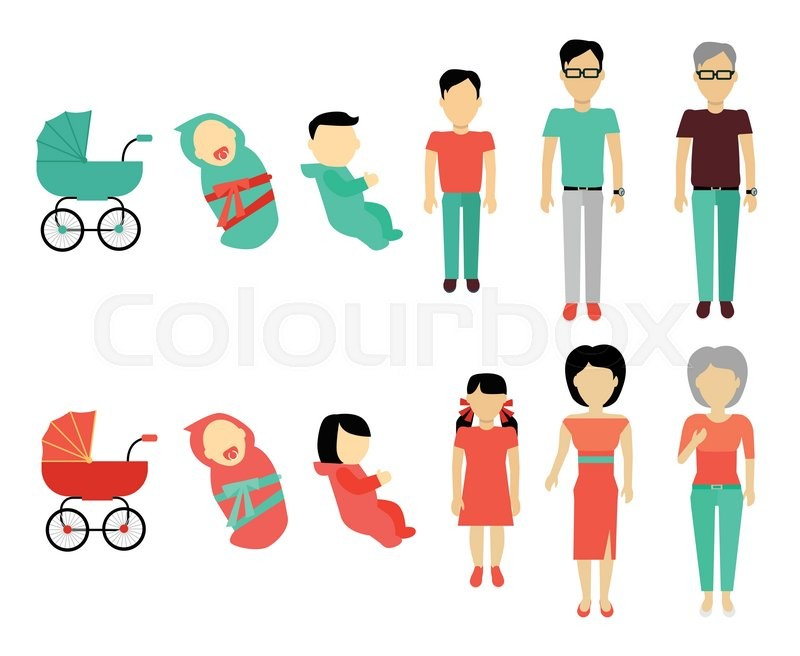 800x656 Human Growing Up Concept. Flat Design. People Male And Female