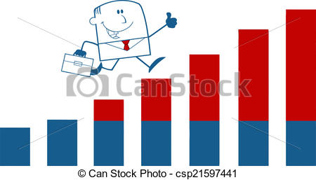 450x257 Businessman Over Growing Bar Chart. Businessman Giving A Eps