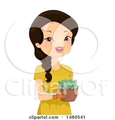 450x470 Clipart Of A Potted Vine Plant Growing Up A Trellis