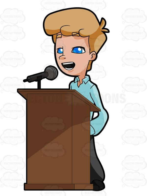 599x800 Man Standing Behind A Podium Talking Into A Microphone Vector