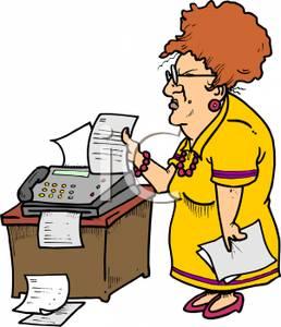 258x300 Clip Art Image A Grumpy Secretary Sending Faxes