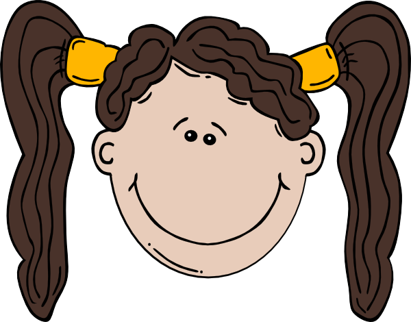 600x470 Girl Face Cartoon With Pigtail Clip Art