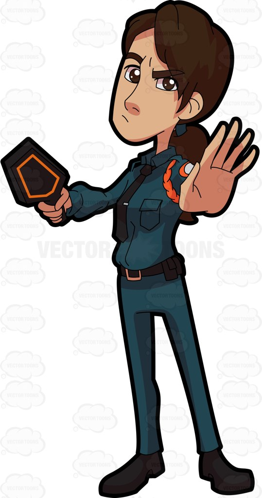 539x1024 A Female Guard Stopping Someone Cartoon Clipart Vector Toons