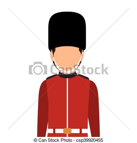 450x470 Avatar British Guard Man. London Symbol Cartoon. Vector Clipart