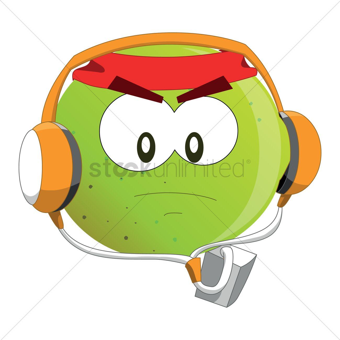 1300x1300 Free Guava Cartoon Listening To Music Vector Image