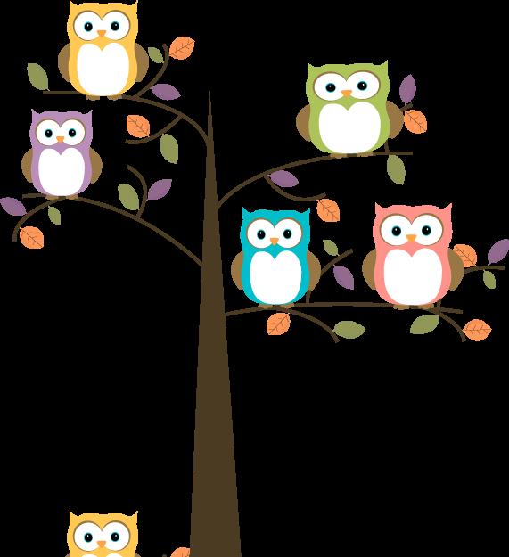 571x625 Owl Cartoon Colorful Owls In Pretty Tree Clip Art