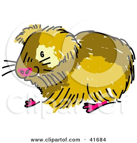 450x470 Clipart Illustration Of A Sketched Brown Guinea Pig By Prawny