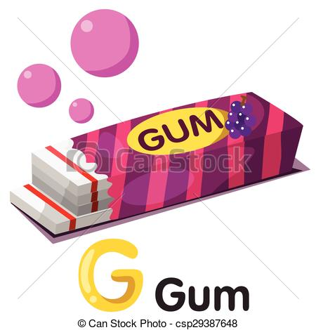 450x470 Illustration Of G Font With Gum Eps Vector