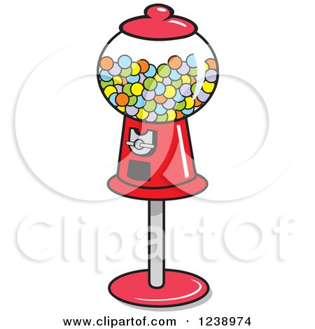 450x470 Clipart Of A Retro Red Gumball Machine