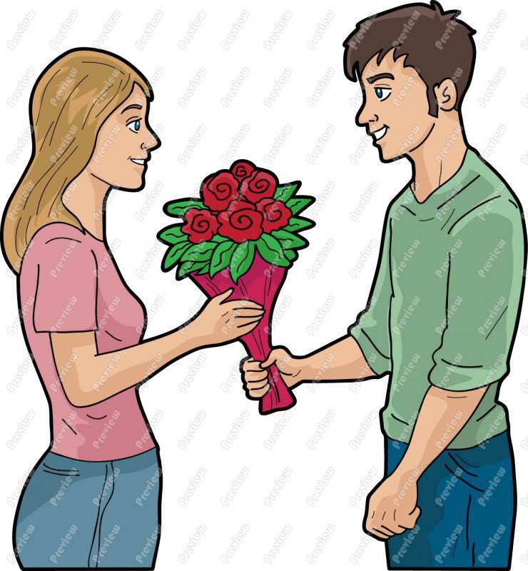 740x800 Man Giving Woman Roses Clip Art