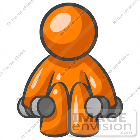 450x450 Clip Art Graphic Of An Orange Man Character Doing Squats
