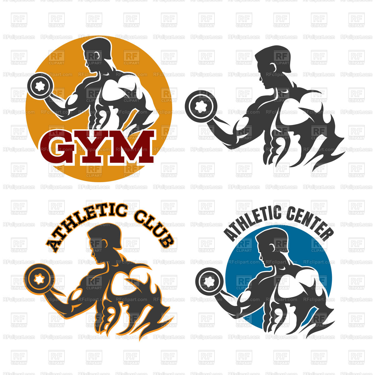 1200x1200 Gym Or Fitness Emblems With Bodybuilder Royalty Free Vector Clip