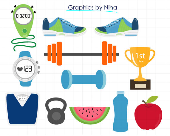 570x456 Instant Download Gym Clipart,fitness Clipart For Personal
