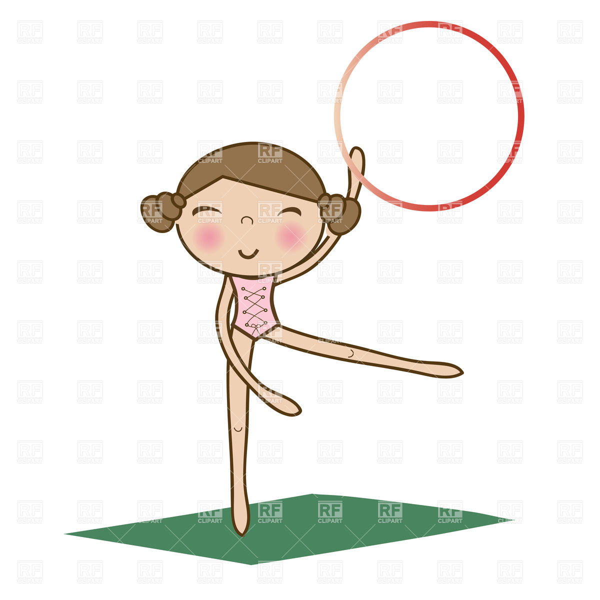 1200x1200 Pretty Little Girl Doing Gymnastics Using Hoop Over White On