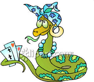 300x261 Gypsy Snake Holding Playing Cards Royalty Free Clipart Picture